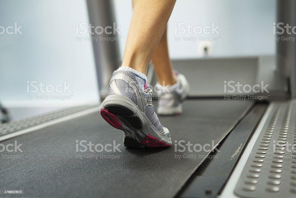 Running on treadmill stock photo