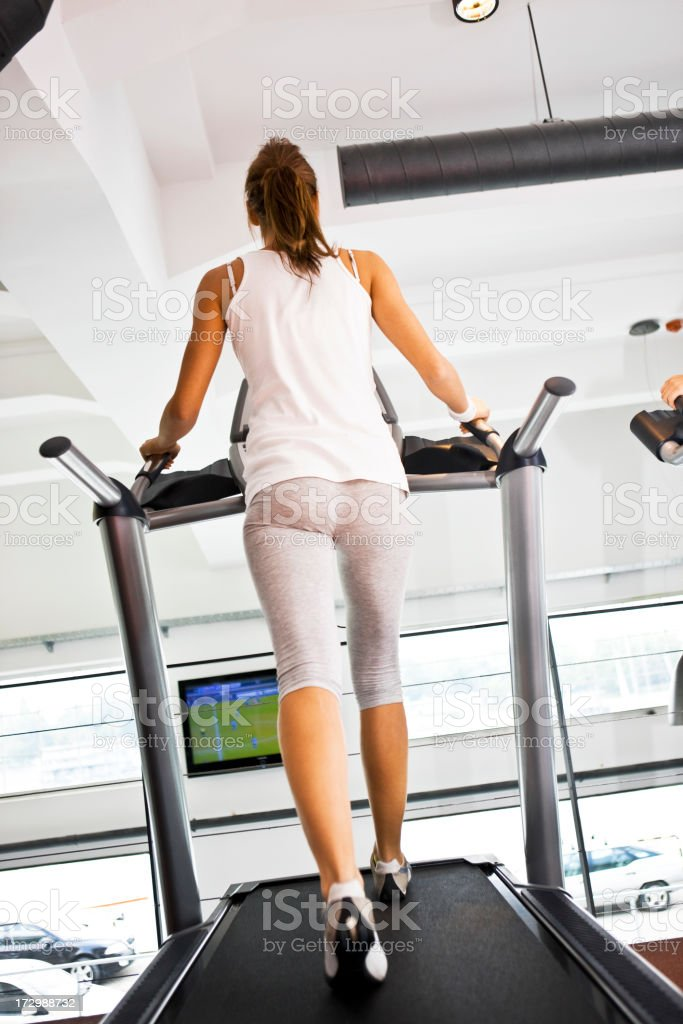 Running on treadmill XXL royalty-free stock photo
