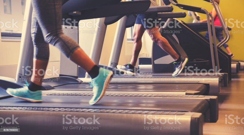 Running on Treadmills stock photo