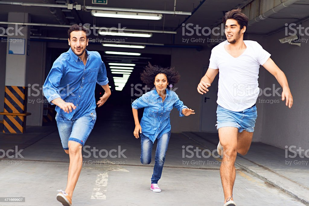 Running out of the corridor stock photo