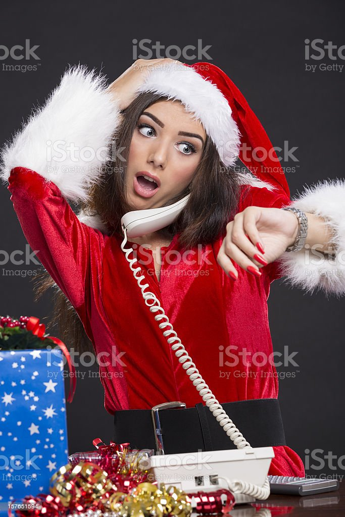 Running out of time on Christmas Eve stock photo