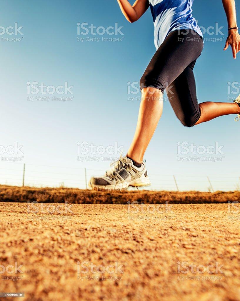 Running outdoors stock photo