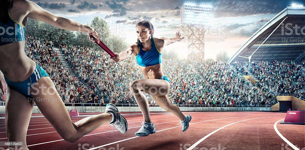 Running Pass on Olympic Stadium stock photo