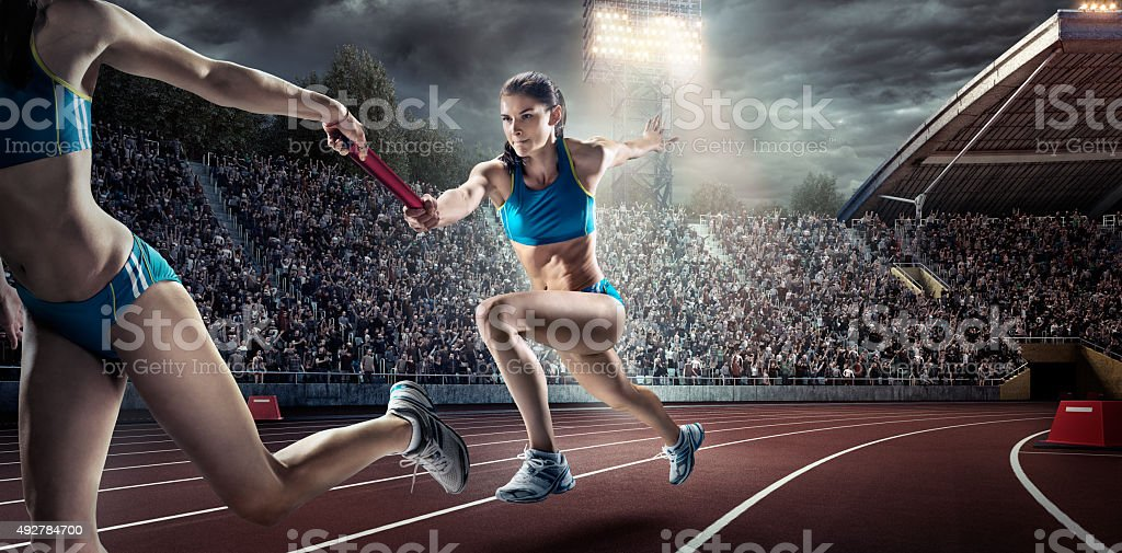 Running Pass on Olympic Stadium stock photo