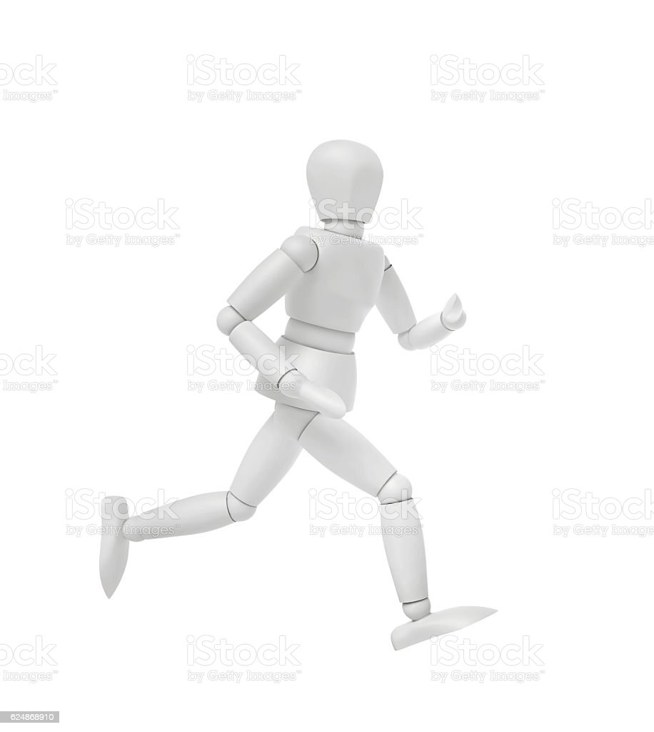 Running person isolated on white stock photo