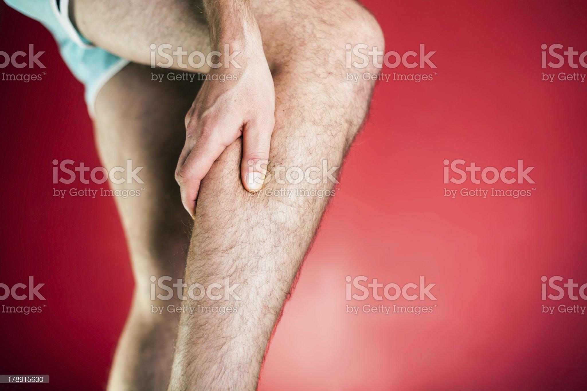 Running physical injury, leg pain XXXL royalty-free stock photo