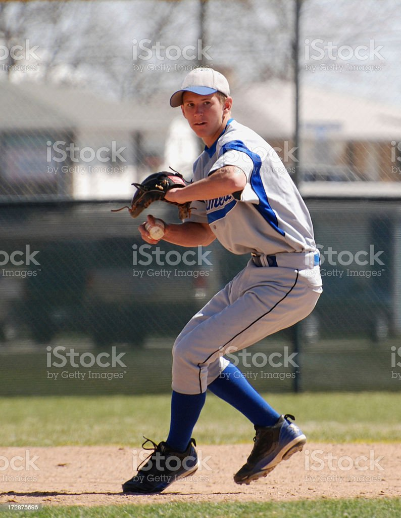 Running pitcher for baseball team stock photo