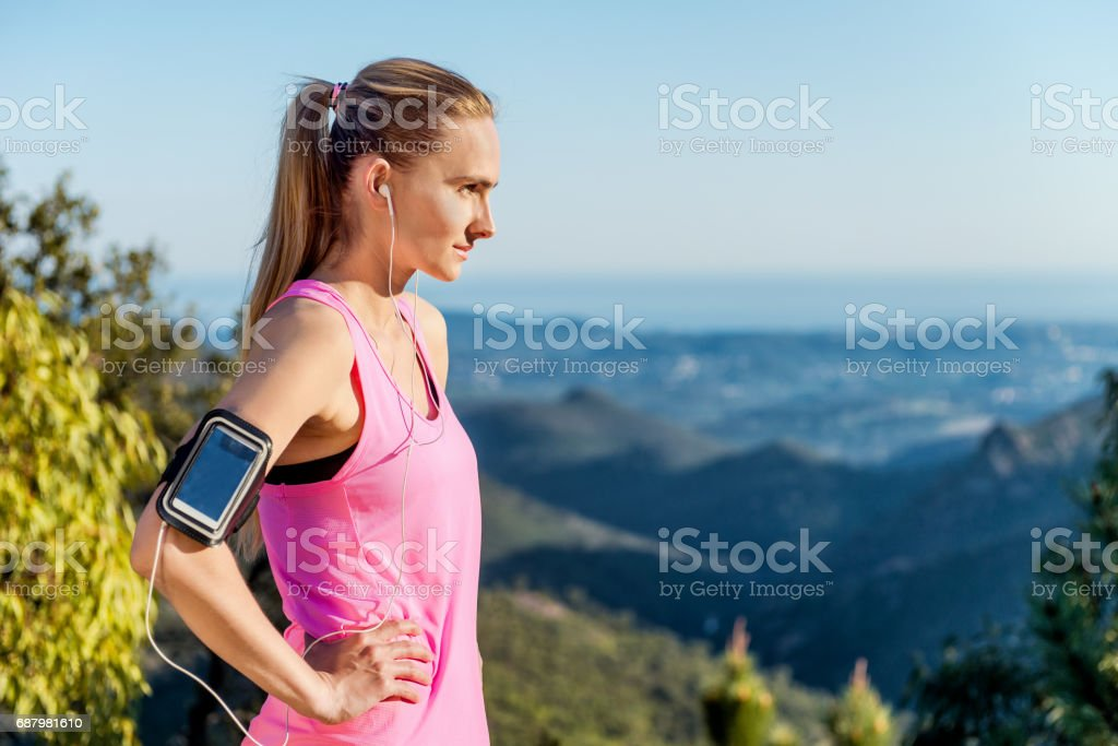 Running & relaxing in tranquil nature stock photo