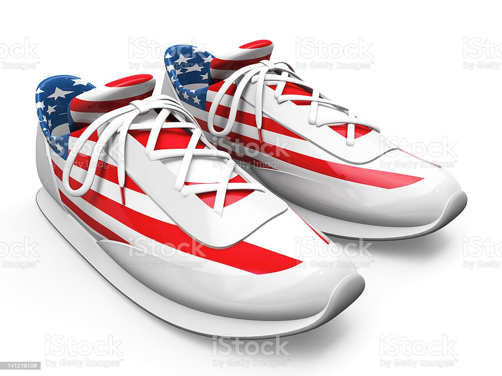 3D Running shoe with US Flag royalty-free stock photo