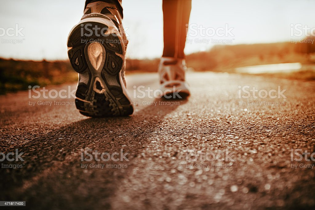 Running shoes closeup stock photo