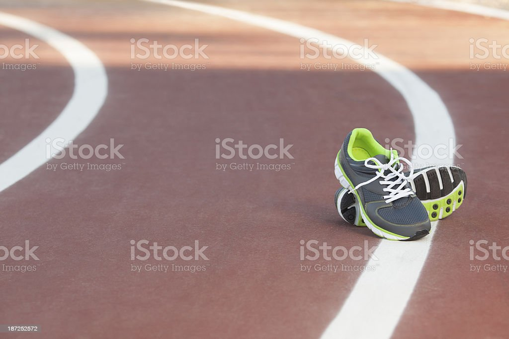 Running shoes jogging track. royalty-free stock photo