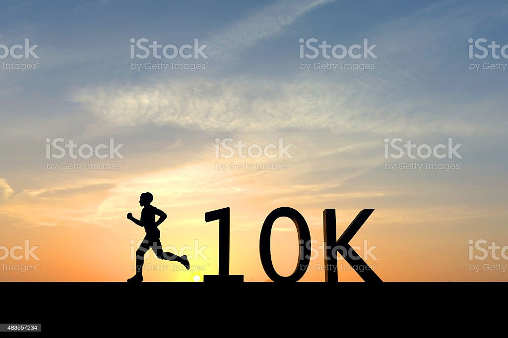 Running silhouette with the word 10K stock photo