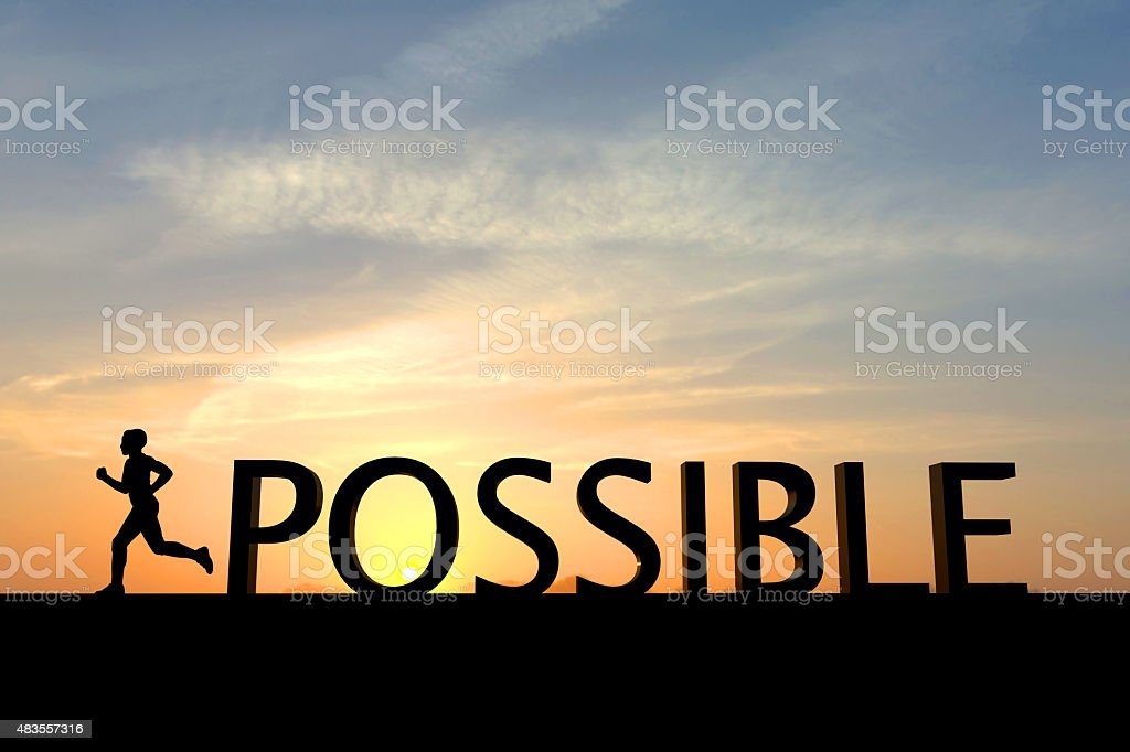 Running silhouette with the word possible stock photo