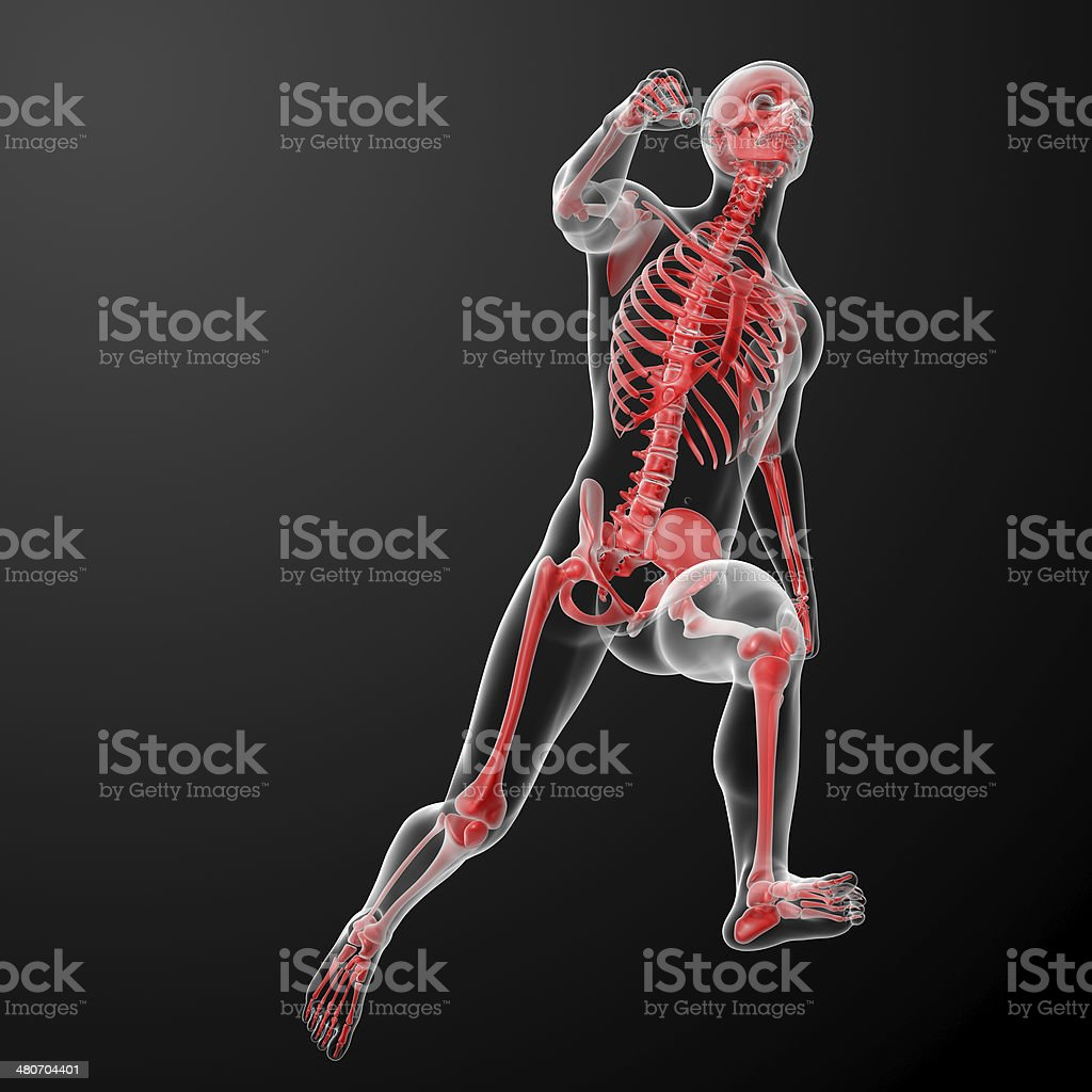 running skeleton by X-rays in red stock photo