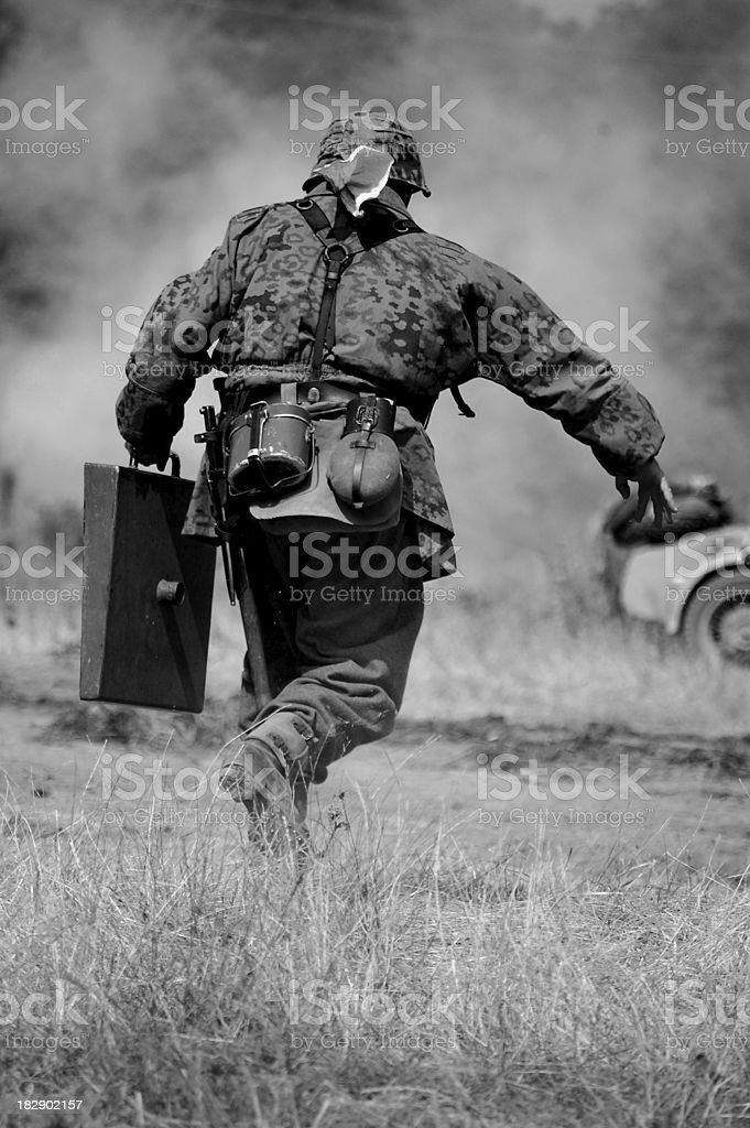 Running Soldier. stock photo