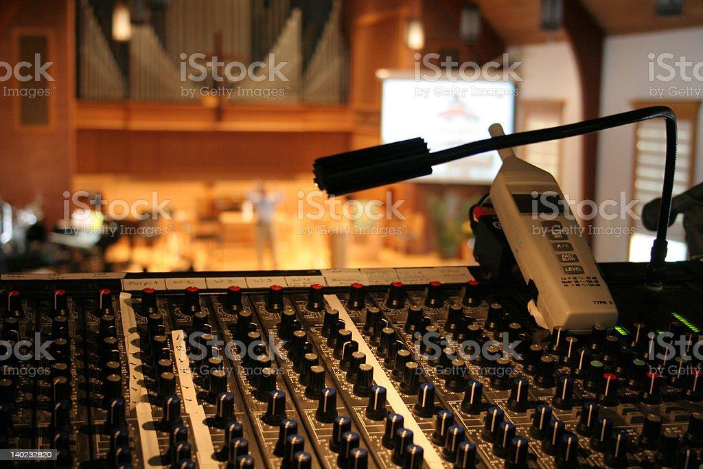 Running sound at a church worship service stock photo