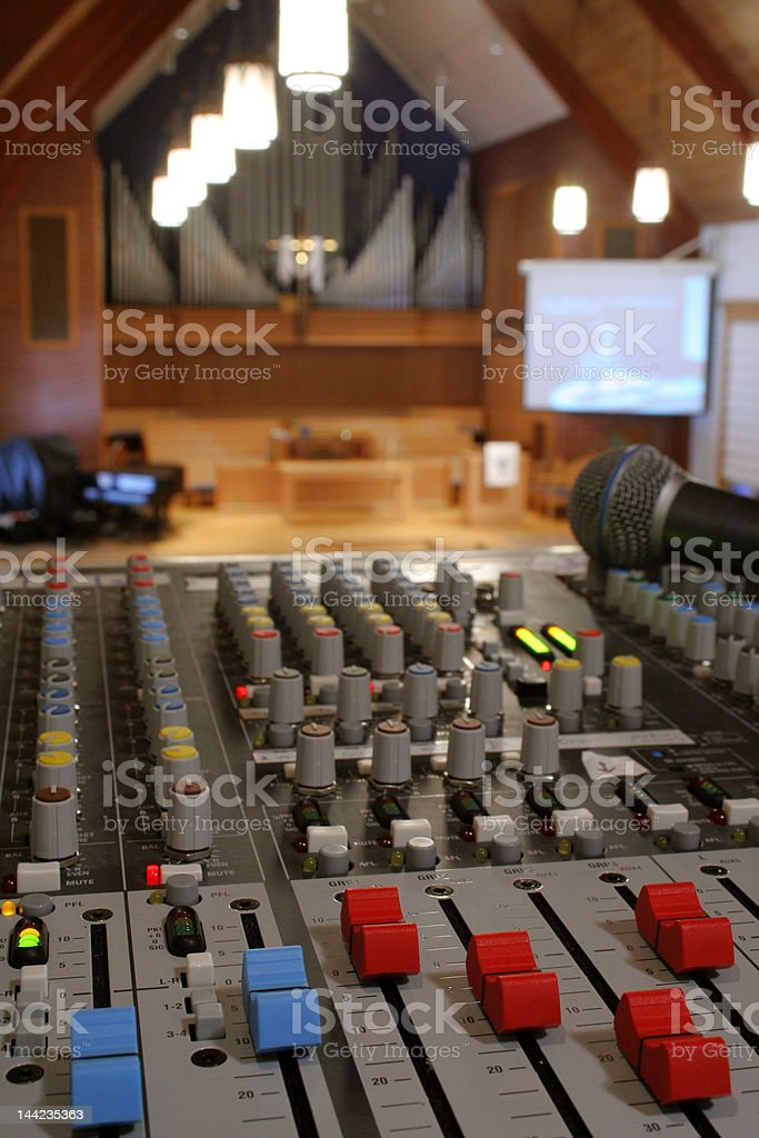 Running sound at a church worship service royalty-free stock photo