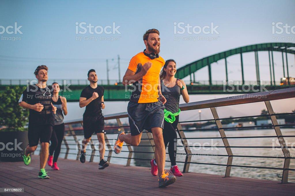 Running squad stock photo