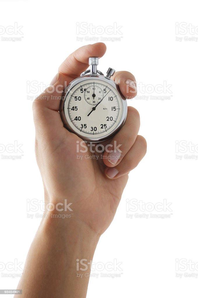 Running stopwatch in the hand stock photo