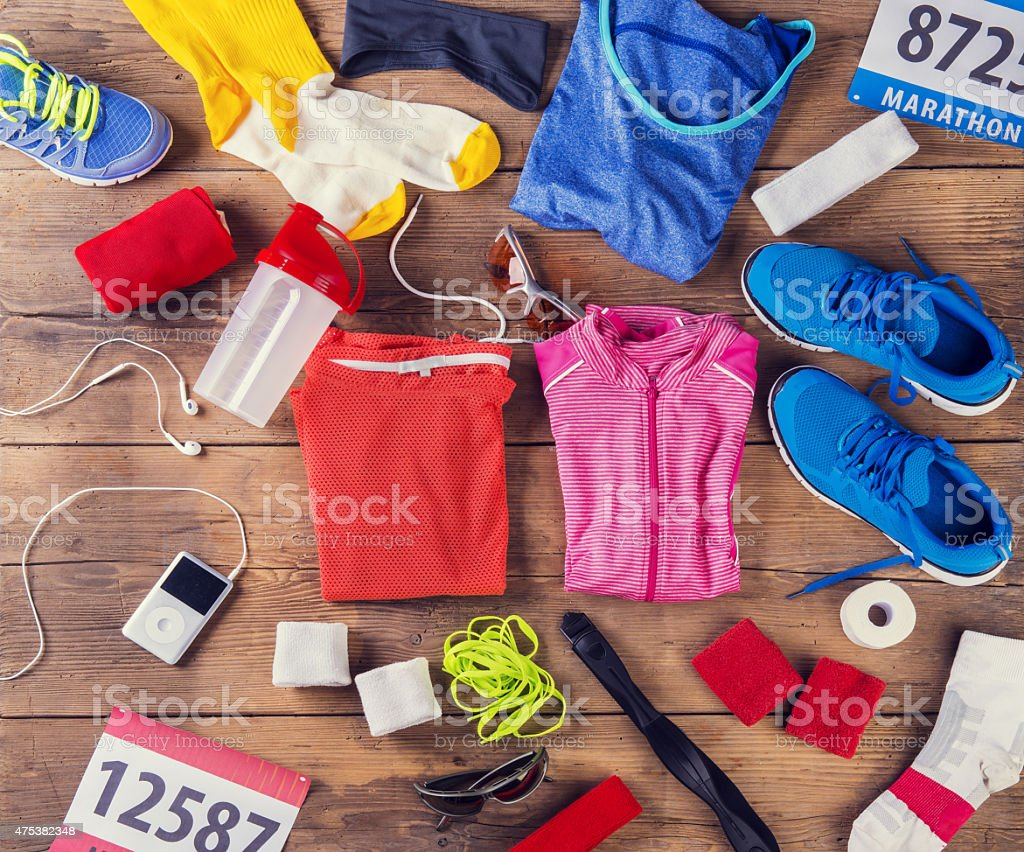 Running stuff on the floor stock photo