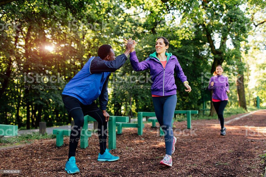Running Team Motivating. stock photo