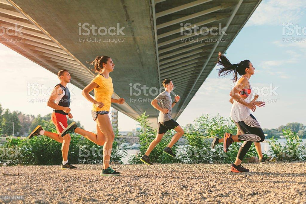 Running Team. stock photo
