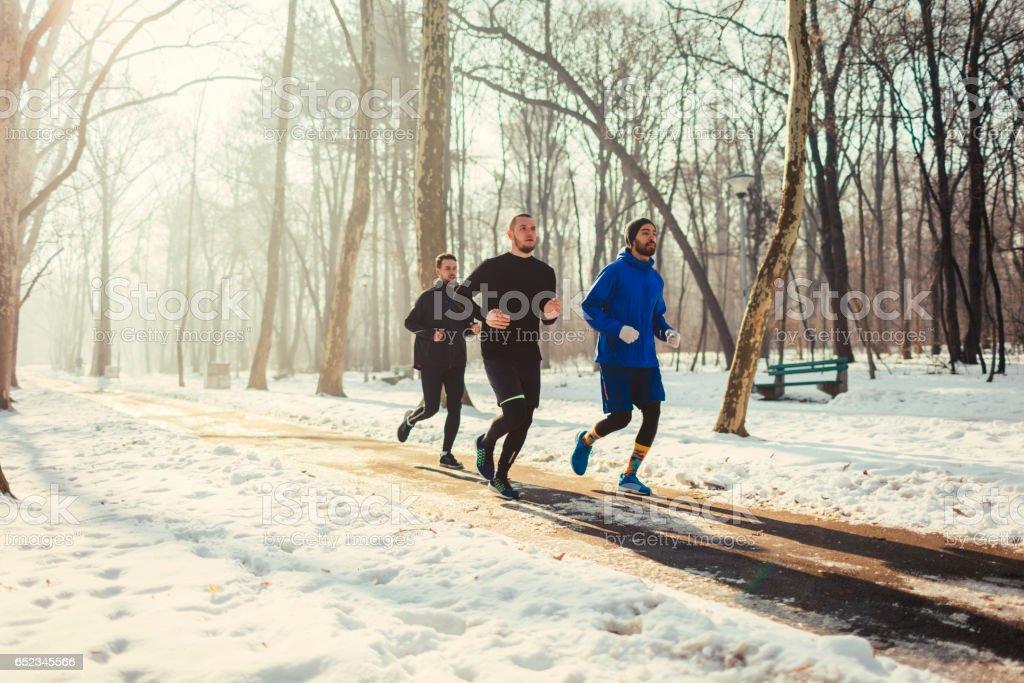 Running team stock photo