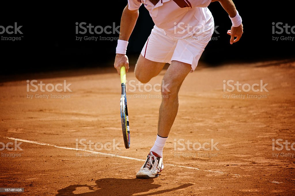 Running tennis player (XXXL) stock photo
