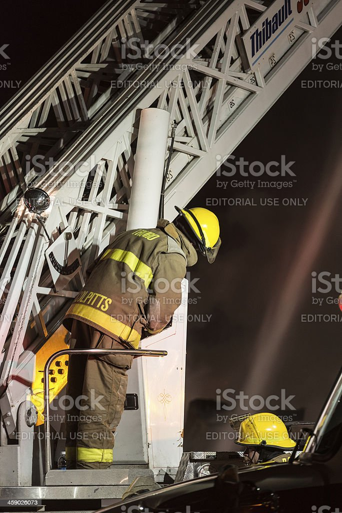 Running the Ladder Truck stock photo