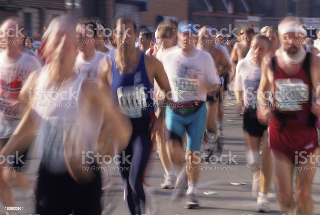 Running The New York City Marathon royalty-free stock photo