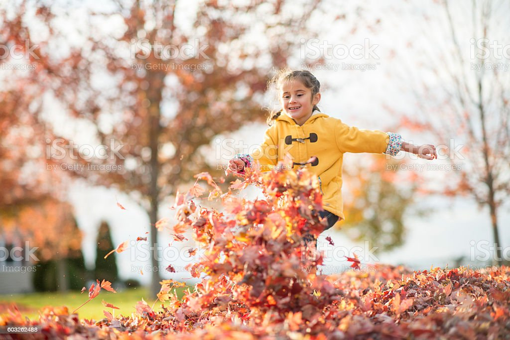 Running Through a Pile of Leaves stock photo