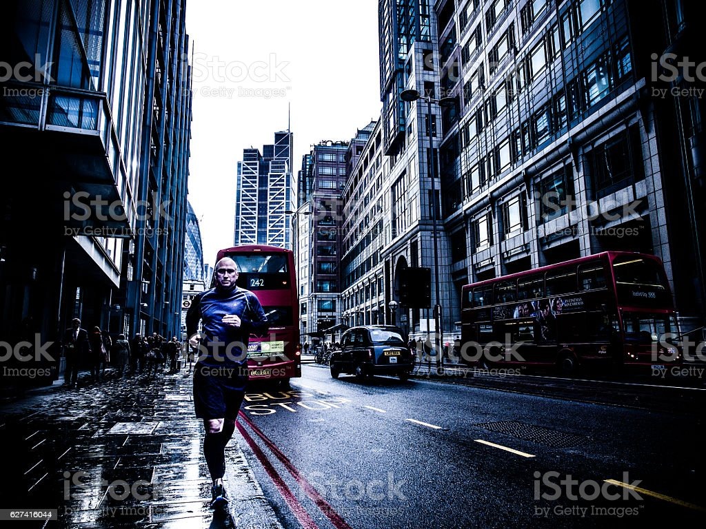 Running Through the City of London stock photo