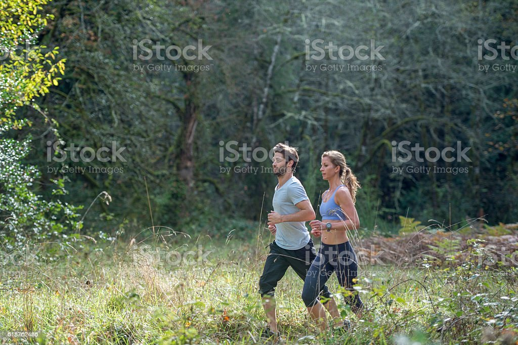 Running Through the Woods Together stock photo