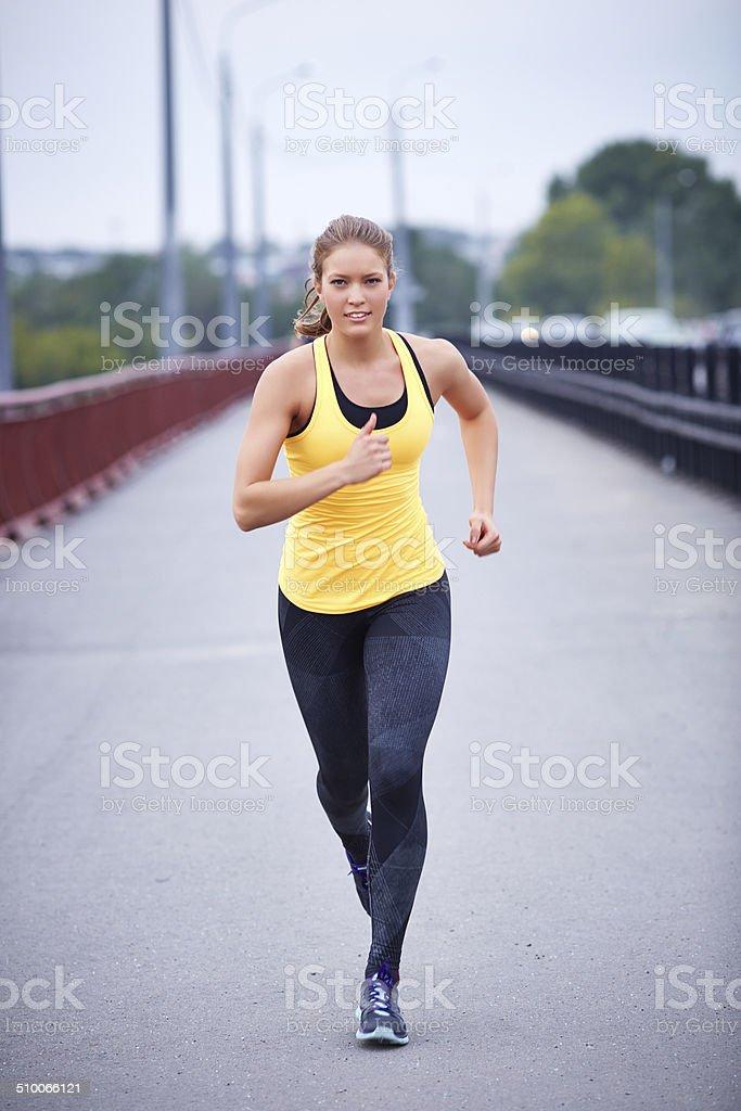Running to win stock photo
