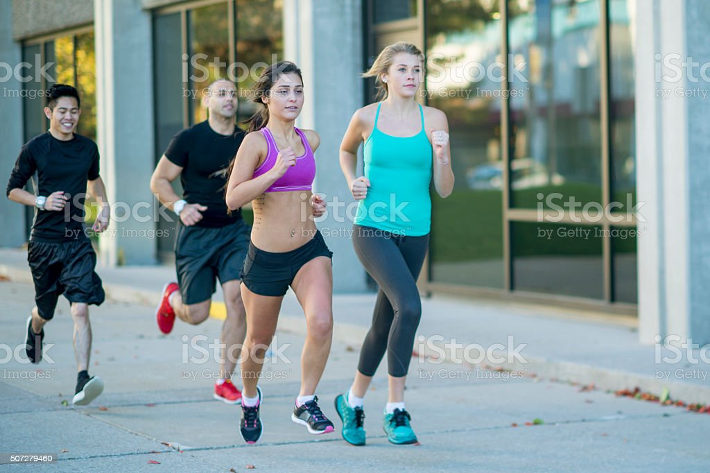 Running Together After School stock photo