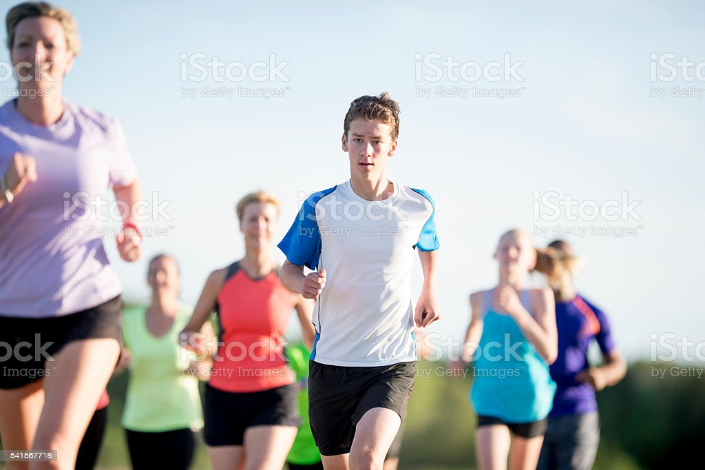 Running Together on Mother's Day stock photo