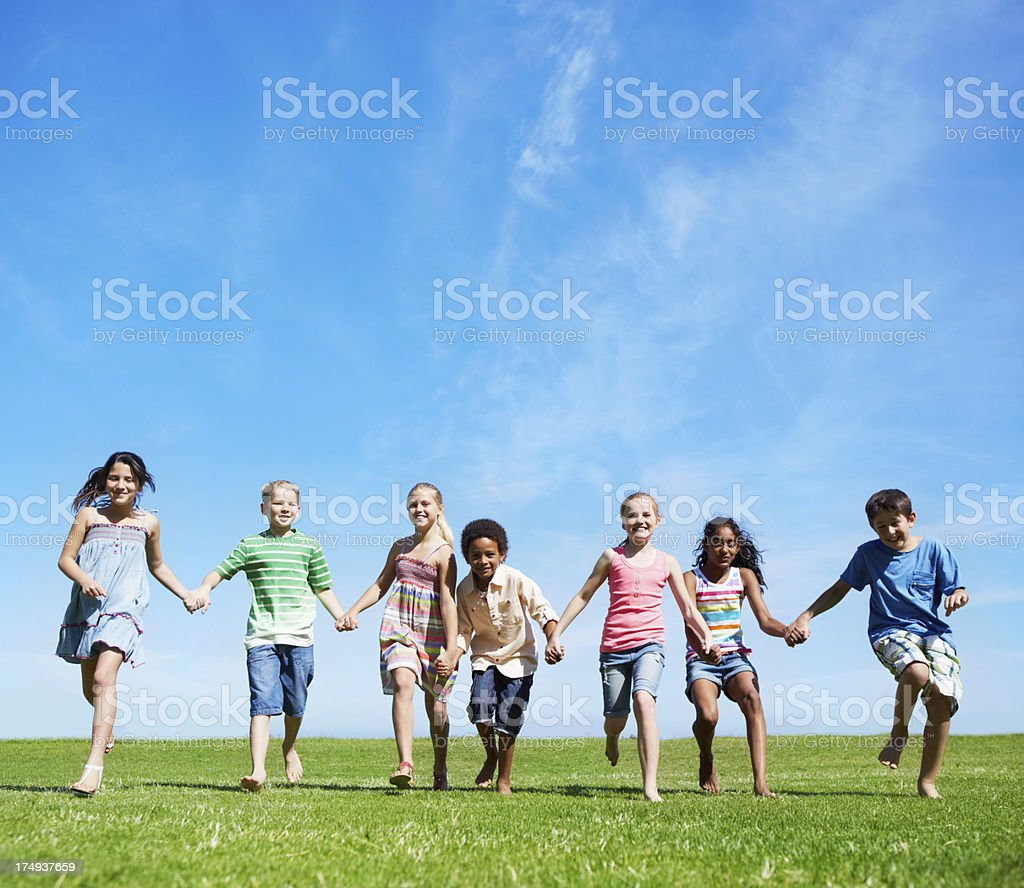 Running together royalty-free stock photo