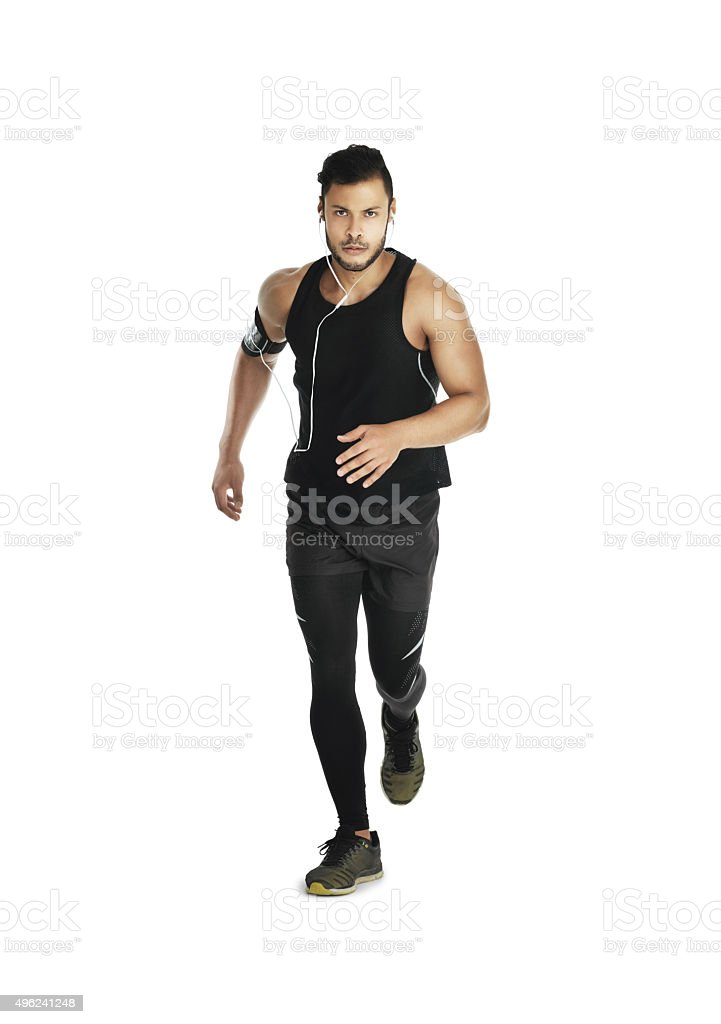 Running towards his fitness goals stock photo