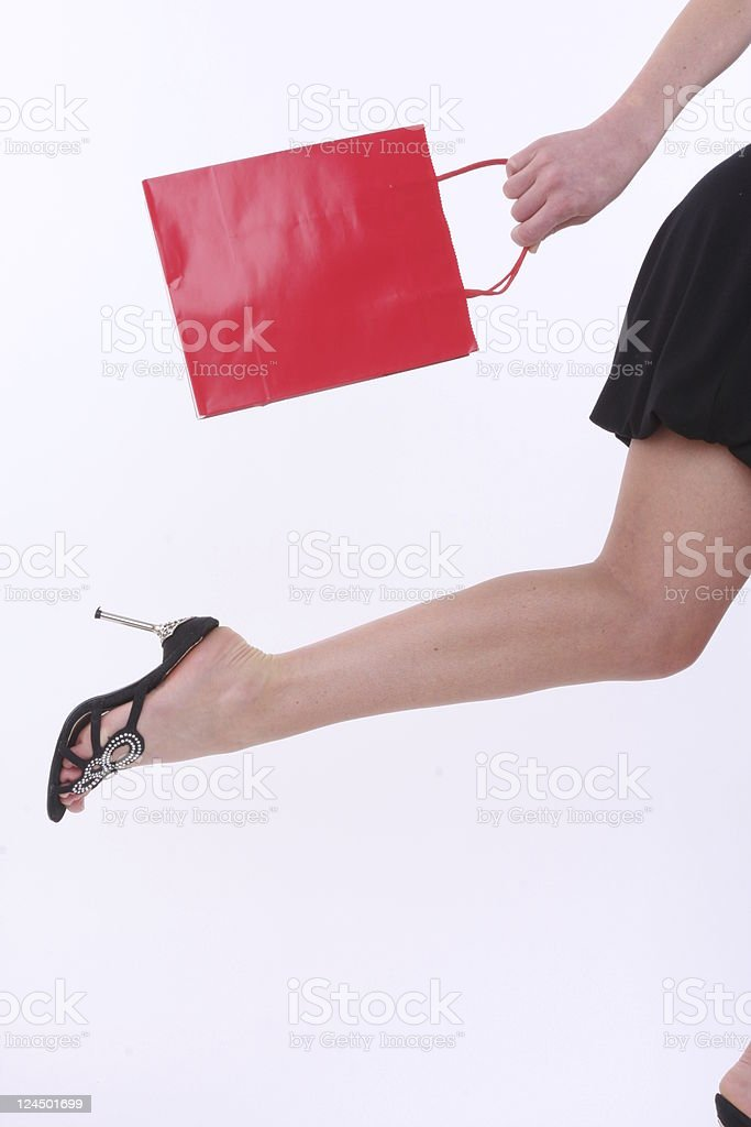 running towards the shopping sales royalty-free stock photo