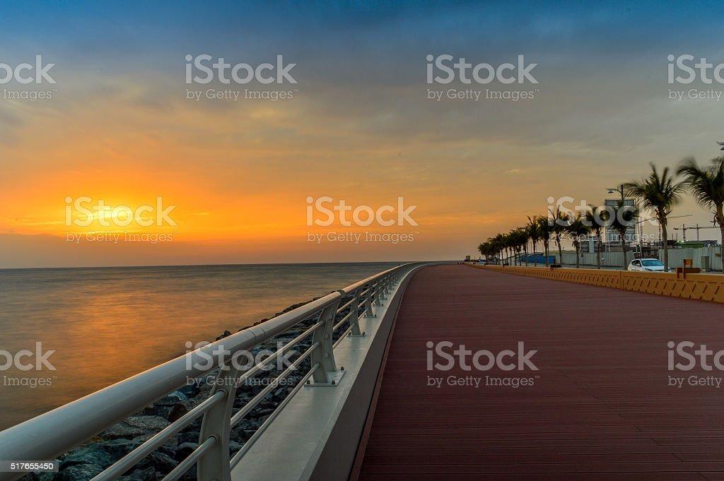Running Track and Sunset stock photo