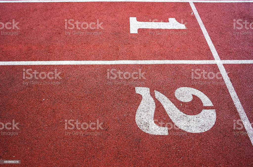 Running Track, Athletics Track Lane Numbers stock photo