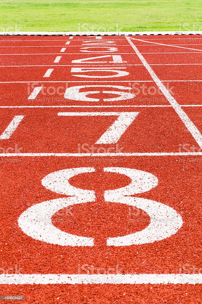 Running track for athletics and sport stock photo