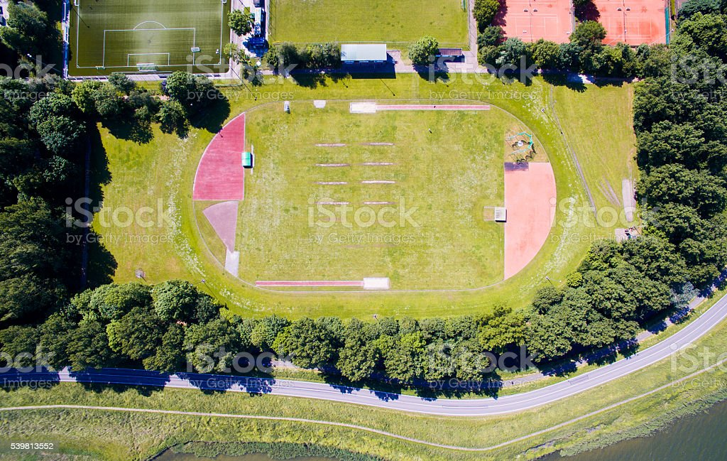 Running track from the sky stock photo