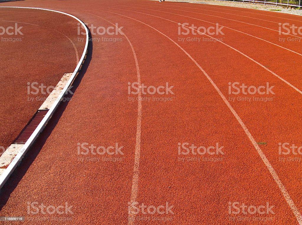 Running track in a stadium stock photo