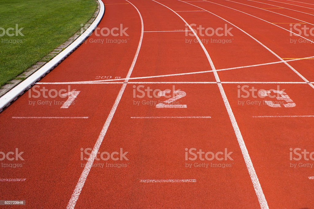 Running Track in Stadium stock photo