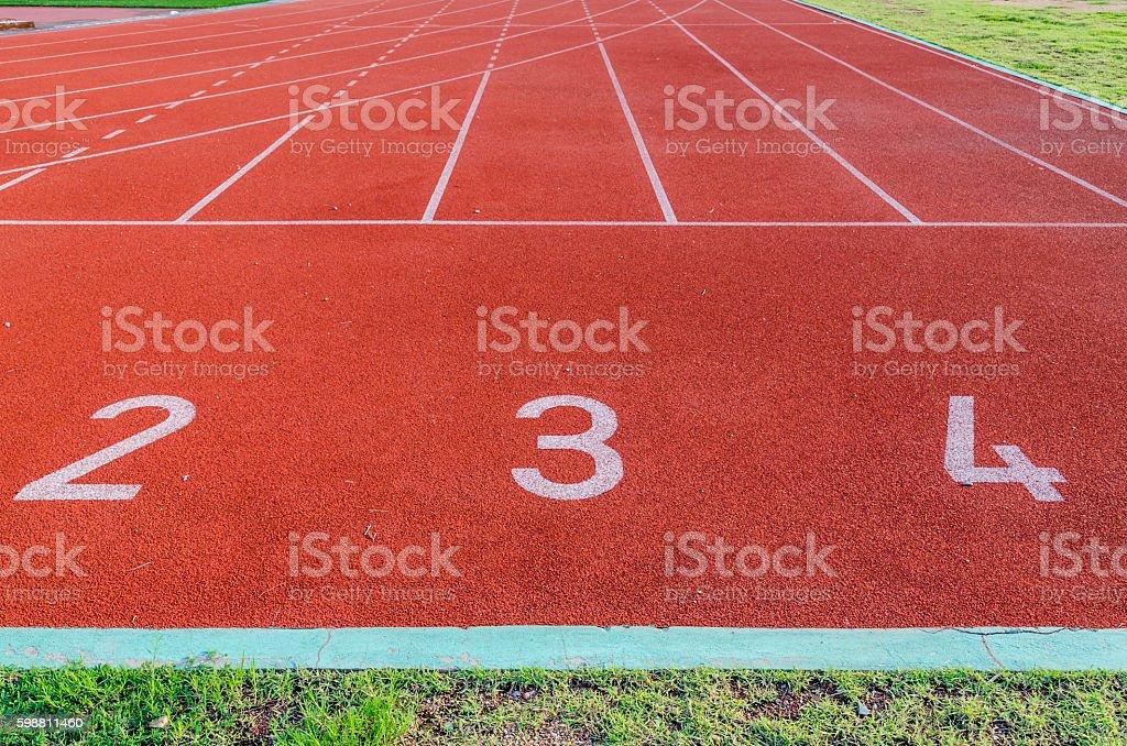 Running track numbers 2 3 4. stock photo