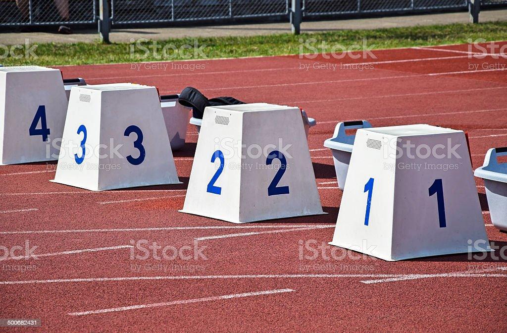 Running track starting blocks royalty-free stock photo