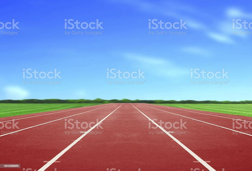 Running Track under Blue Sky stock photo
