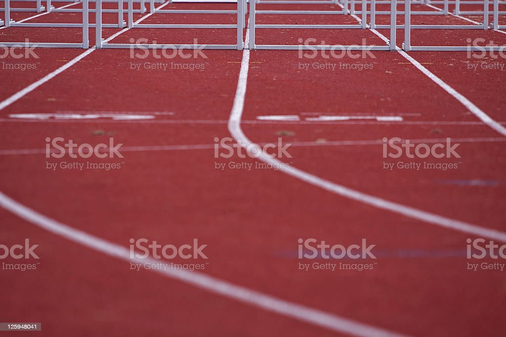 running track with hurdles royalty-free stock photo