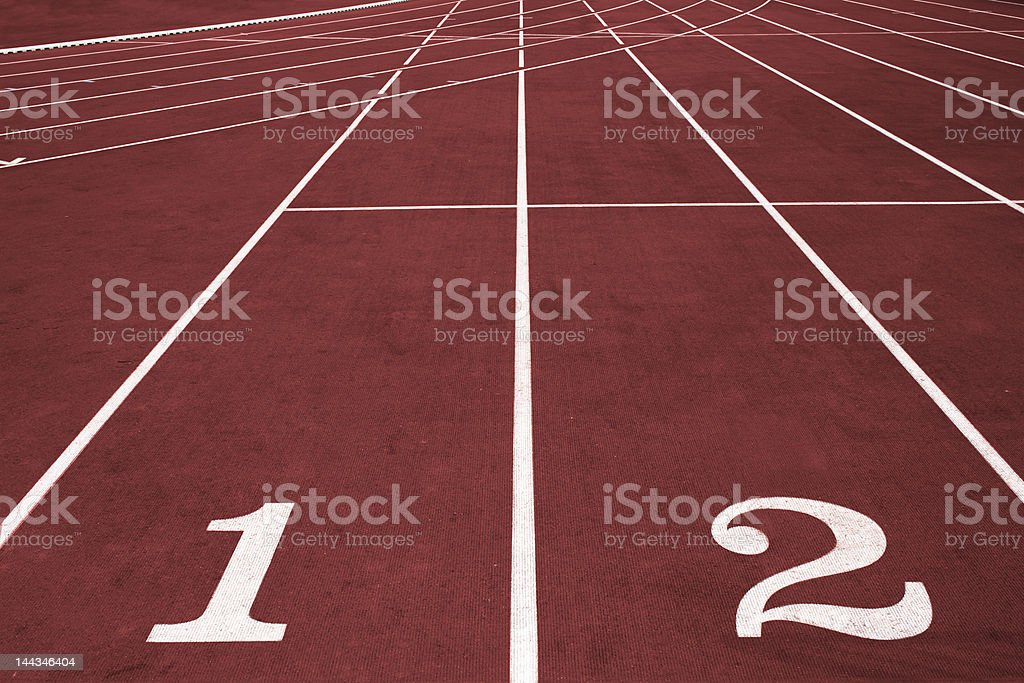 Running track with lane numbers royalty-free stock photo